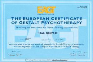 certyfikowany psychoterapeuta paweł nawrocki certyfikat eagt